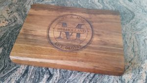 Custom Mr & Mrs design - Laser engraved Red Gum chopping board