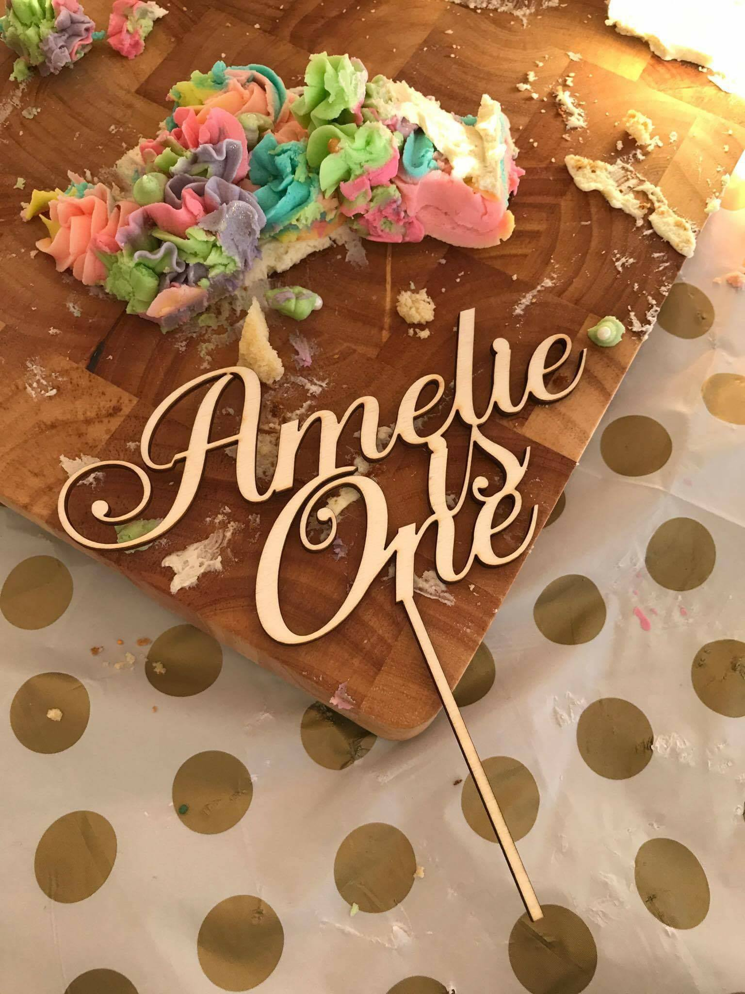 Custom Amelie is one laser cut plywood cake topper