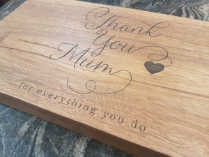Thank you mum laser engraved hardwood chopping board.