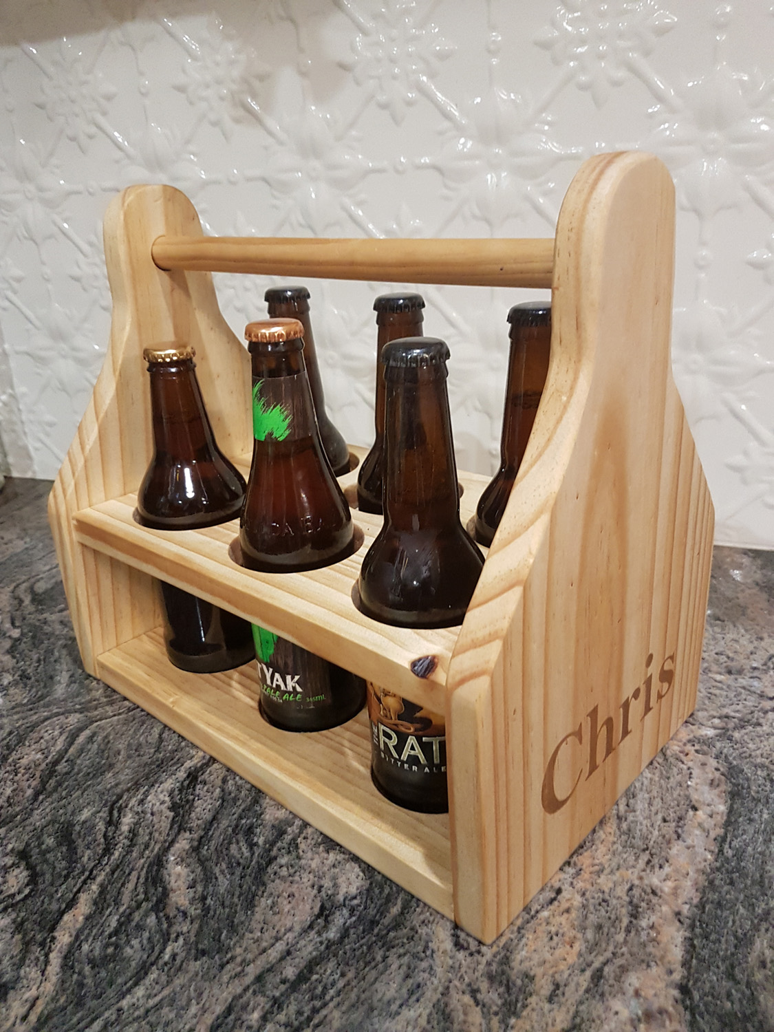 Timber beer caddy - Personalised with laser engraving