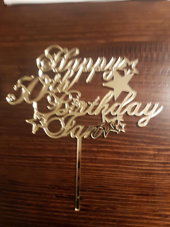Custom topper in gold mirror acrylic