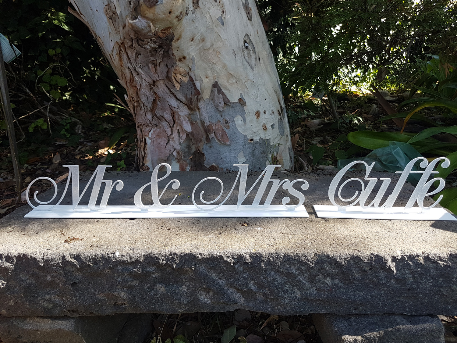 Personalised laser cut silver glitter acrylic Mr & Mrs wedding table sign